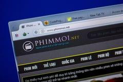 梁赞,俄罗斯- 2018年6月05日:Phimmoi网站主页个人计算机, URL - Phimmoi显示的  净额 免版税库存照片