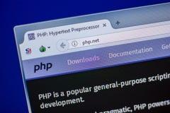 梁赞,俄罗斯- 2018年6月05日:Php网站主页个人计算机, URL - Php显示的  净额 库存图片