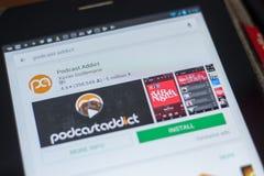 梁赞,俄罗斯- 2018年5月16日:Podcast上瘾者app象或商标在流动apps名单 库存图片