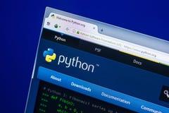 梁赞,俄罗斯- 2018年4月29日:Python网站主页个人计算机, URL - Python显示的  org 免版税库存图片