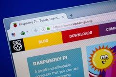 梁赞,俄罗斯- 2018年6月26日:RaspberryPI网站主页个人计算机显示的  URL - RaspberryPI org 库存图片