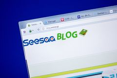梁赞,俄罗斯- 2018年6月05日:Seesa个人计算机, URL -博克显示的博克网站主页  Seesaa jp 库存图片