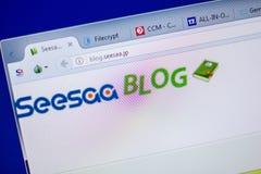 梁赞,俄罗斯- 2018年6月05日:Seesa个人计算机, URL -博克显示的博克网站主页  Seesaa jp 免版税库存照片