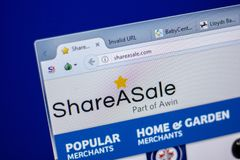 梁赞,俄罗斯- 2018年6月05日:ShareASale网站主页个人计算机, URL - ShareASale显示的  com 库存图片