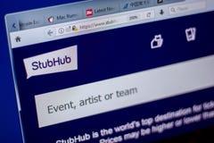 梁赞,俄罗斯- 2018年6月05日:StubHub网站主页个人计算机, URL - StubHub显示的  com 图库摄影