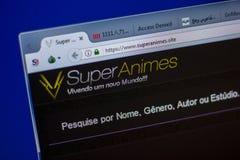 梁赞,俄罗斯- 2018年6月05日:SuperAnimes网站主页个人计算机, URL - SuperAnimes显示的  站点 免版税图库摄影