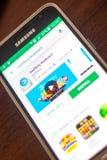 梁赞,俄罗斯- 2018年5月04日:SwiftKey在手机显示的流动apps名单的键盘象  免版税库存照片