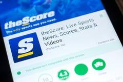 梁赞,俄罗斯- 2018年5月03日:theScore在片剂个人计算机显示的流动app  免版税图库摄影