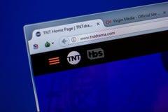 梁赞,俄罗斯- 2018年6月05日:TntDrama网站主页个人计算机, URL - TntDrama显示的  com 库存照片