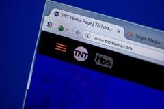 梁赞,俄罗斯- 2018年6月05日:TntDrama网站主页个人计算机, URL - TntDrama显示的  com 免版税库存照片