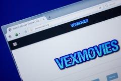 梁赞,俄罗斯- 2018年6月26日:VexMovies网站主页个人计算机显示的  URL - VexMovies org 免版税库存图片