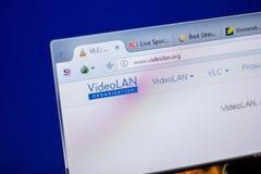 梁赞,俄罗斯- 2018年6月05日:VideoLan网站主页个人计算机, URL - VideoLan显示的  org 库存图片