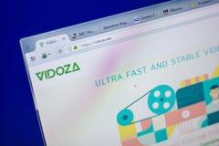 梁赞,俄罗斯- 2018年6月05日:Vidoza网站主页个人计算机, URL - Vidoza显示的  净额 免版税图库摄影