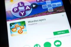 梁赞,俄罗斯- 2018年5月03日:Wordscapes在片剂个人计算机显示的流动app  免版税图库摄影