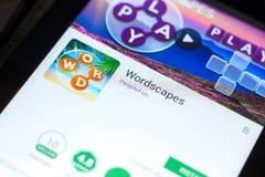 梁赞,俄罗斯- 2018年5月03日:Wordscapes在片剂个人计算机显示的流动app  库存照片
