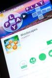 梁赞,俄罗斯- 2018年5月03日:Wordscapes在片剂个人计算机显示的流动app  免版税库存照片