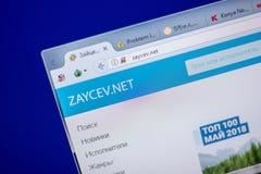 梁赞,俄罗斯- 2018年6月05日:Zaycev网站主页个人计算机, URL - Zaycev显示的  净额 免版税库存照片