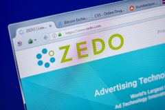 梁赞,俄罗斯- 2018年6月05日:Zedo网站主页个人计算机, URL - Zedo显示的  com 图库摄影