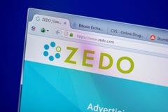 梁赞,俄罗斯- 2018年6月05日:Zedo网站主页个人计算机, URL - Zedo显示的  com 库存图片