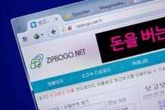 梁赞,俄罗斯- 2018年6月05日:Zipbogo网站主页个人计算机, URL - Zipbogo显示的  净额 图库摄影