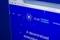 梁赞,俄罗斯- 2018年3月29日-家族隐藏货币主页在个人计算机显示,网地址- kinecosystem的 org 库存照片
