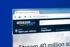 梁赞,俄罗斯- 2018年3月28日-英国亚马逊服务主页在个人计算机显示,网地址-亚马逊的 Co 英国 免版税库存照片