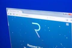梁赞,俄罗斯- 2018年3月29日-请求网络主页在个人计算机显示,网地址- requestnetwork的 免版税库存照片