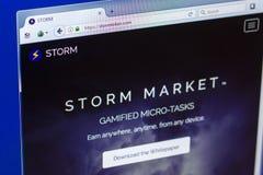 梁赞,俄罗斯- 2018年3月29日-风暴隐藏货币主页在个人计算机显示,网地址的- stormtoken com 免版税库存照片