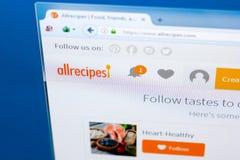 梁赞,俄罗斯- 2018年3月28日- AllRecipes主页在个人计算机显示,网地址- allrecipes的 com 库存图片