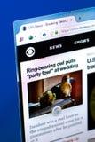梁赞,俄罗斯- 2018年3月28日- CBSNews主页在个人计算机显示,网地址- cbsnews的 com 免版税库存图片