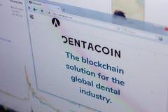 梁赞,俄罗斯- 2018年3月29日- Dentacoin,网地址- dentacoin主页在个人计算机显示的 com 免版税库存图片