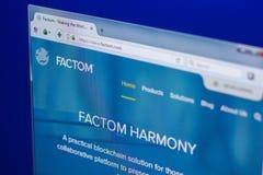 梁赞,俄罗斯- 2018年3月29日- Factom隐藏货币,网地址- factom主页在个人计算机显示的 com 免版税图库摄影