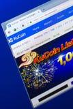 梁赞,俄罗斯- 2018年3月29日- KuCoin隐藏货币,网地址-万维网主页在个人计算机显示的 kucoin com 库存照片