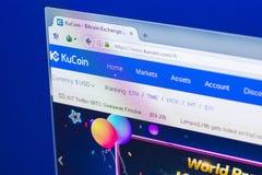 梁赞,俄罗斯- 2018年3月29日- KuCoin隐藏货币,网地址-万维网主页在个人计算机显示的 kucoin com 免版税库存照片