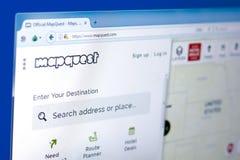 梁赞,俄罗斯- 2018年3月28日- MapQuest服务主页在个人计算机显示,网地址- mapquestcom的 免版税库存图片
