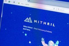 梁赞,俄罗斯- 2018年3月29日- Mithril隐藏货币,网地址- mith主页在个人计算机显示的 Io 免版税库存照片