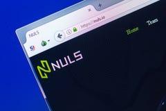 梁赞,俄罗斯- 2018年3月29日- Nuls隐藏货币,网地址- nuls主页在个人计算机显示的 Io 库存图片