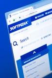 梁赞,俄罗斯- 2018年3月28日- SoftPedia网站主页个人计算机显示的,网地址- softpedia com 图库摄影