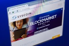 梁赞,俄罗斯- 2018年3月29日- Syscoin隐藏货币,网地址- syscoin主页在个人计算机显示的 org 库存照片