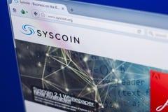 梁赞,俄罗斯- 2018年3月29日- Syscoin隐藏货币,网地址- syscoin主页在个人计算机显示的 org 库存图片