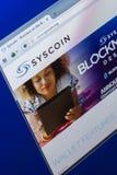 梁赞,俄罗斯- 2018年3月29日- Syscoin隐藏货币,网地址- syscoin主页在个人计算机显示的 org 免版税库存图片