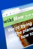 梁赞,俄罗斯- 2018年3月28日- wikiHow网站主页个人计算机显示的,网地址- wikihow com 免版税图库摄影