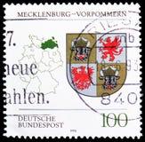 梅克伦堡西部Pomerania徽章,徽章联邦联邦州serie的,大约1993年 库存照片