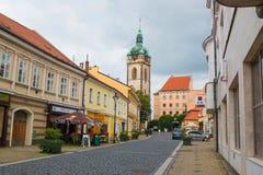 梅利尼克,捷克- 02 09 2017年:老正方形全景在梅利尼克,城市在波希米亚地区 免版税库存图片