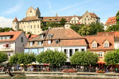 梅尔斯堡美丽如画的城镇Constance湖的  图库摄影