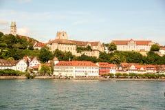 梅尔斯堡美丽如画的城镇Constance湖的  库存照片