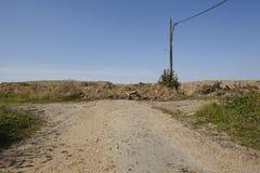 梅尔策尼希-路在露天矿Hambach附近结束 免版税图库摄影