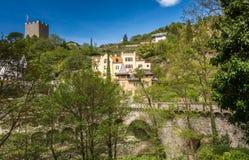 梅拉诺,南蒂罗尔,意大利散步  南Tyrol& x27; s历史大厦 免版税库存图片