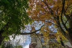梅拉诺,南蒂罗尔,意大利散步  南Tyrol& x27; s历史大厦 免版税库存照片