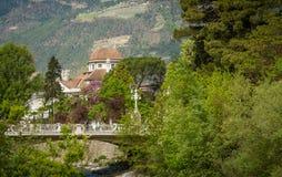 梅拉诺,南蒂罗尔,意大利散步  免版税库存图片